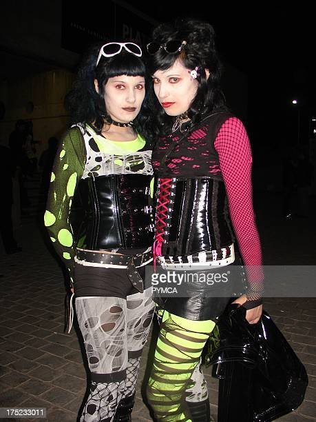 A couple of female Cyberpunk friends posing on the streets of Santiago Chile 2007