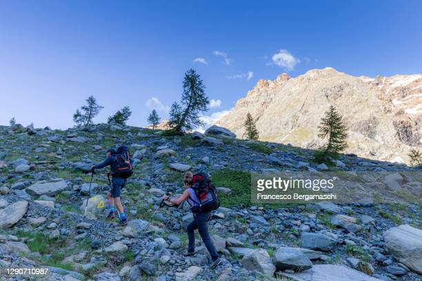 a couple of hikers walks on a pathway in high altitude mountain. - italia ストックフォトと画像