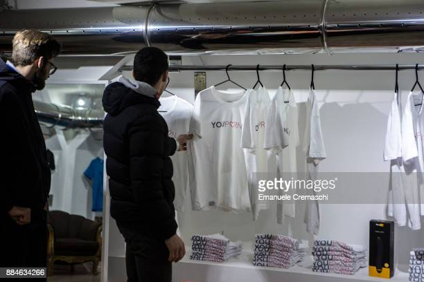 A couple of men stands at the 'Pornhub Christmas Store' on December 1 2017 in Milan Italy Pornhub the largest pornography site on the Internet has...