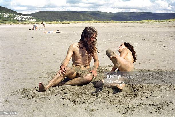A couple of nudists in the beach of Morouzos Ortigueira A Coruna Rias Altas Galicia