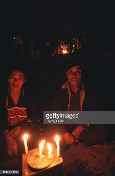 A couple of old ethnic minority people in Jew Kaw village Like most of this village's men and elders they are addicted to opium which constitutes the...