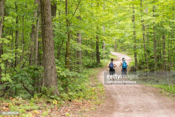 toronto, canada - july 9, 2016. couple of people hiking together in the woods down a dirt path on a beautiful summer day. green canopy of trees above them. view from the back of people - full body. - istock stock-fotos und bilder