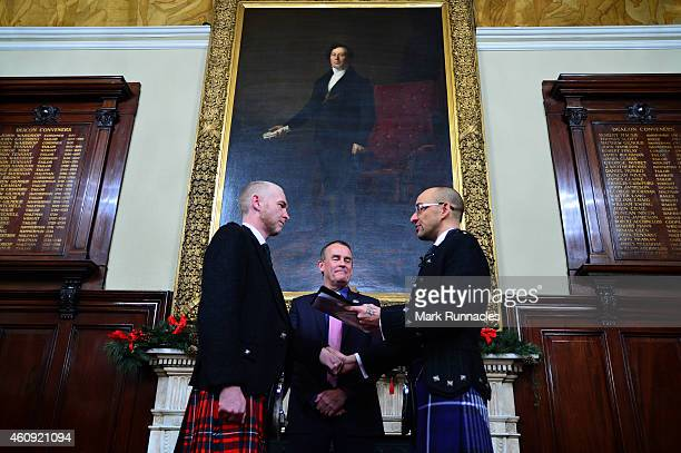A couple of the same sex Joe Schofield and Malcolm Brown from Tullibody Clackmannanshire are married by Ross Wright Celebrant from Humanist Society...