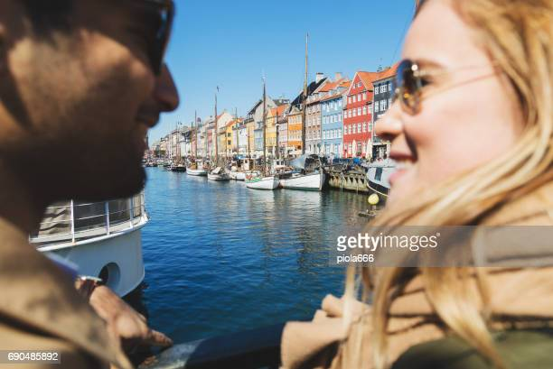Couple of tourist at Nyhavn in Copenhagen