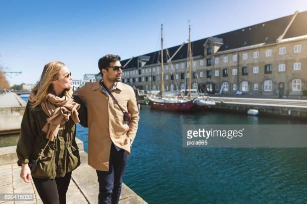 Couple of tourist at the marina in Copenhagen