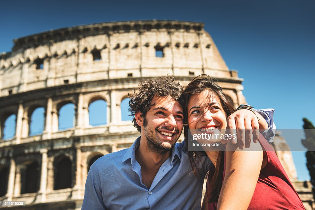 couple of tourist in rome enjoy the vacation : Stock Photo