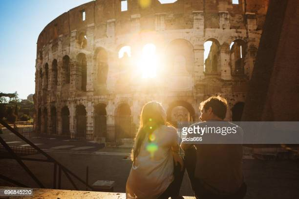 Couple of tourists in Rome in romantic mood