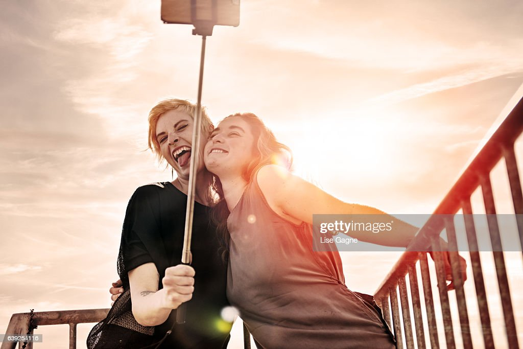 Couple of women doing selfie : Stock Photo