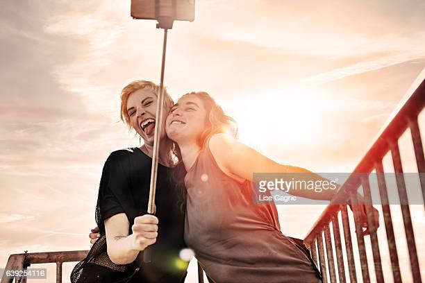 Couple of women doing selfie