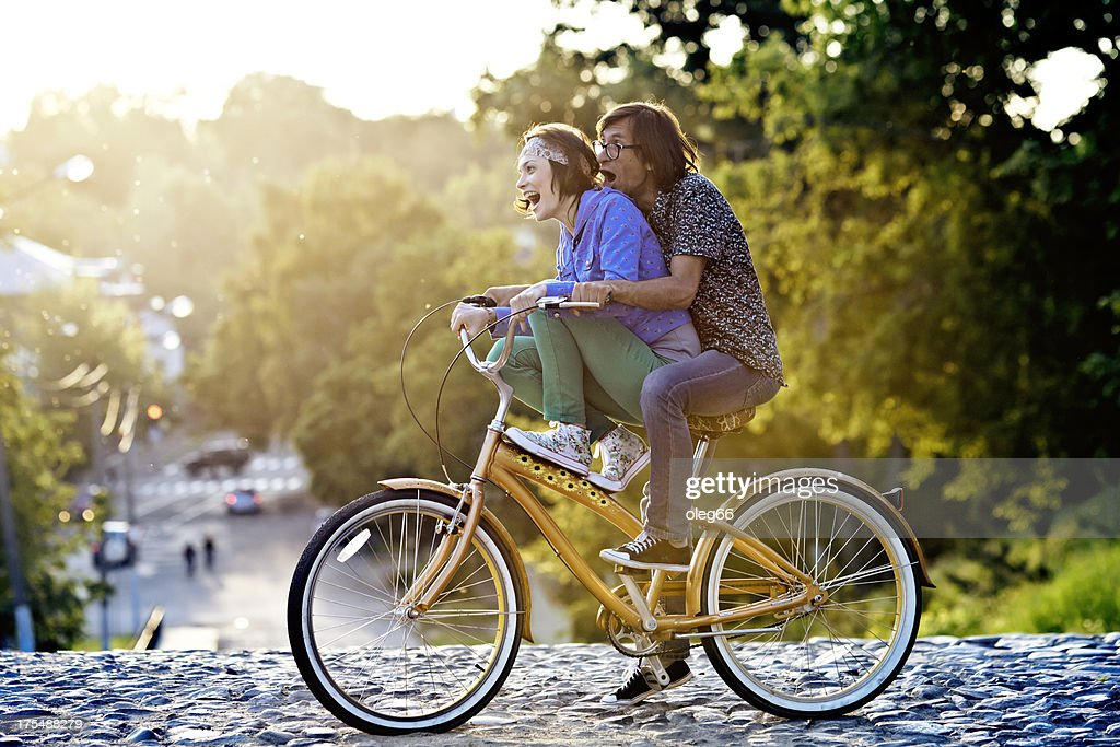 couple on a bicycle : Stock Photo