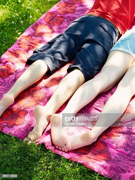 a couple on a blanket in the grass, sweden. - woman lying on stomach with feet up stock photos and pictures