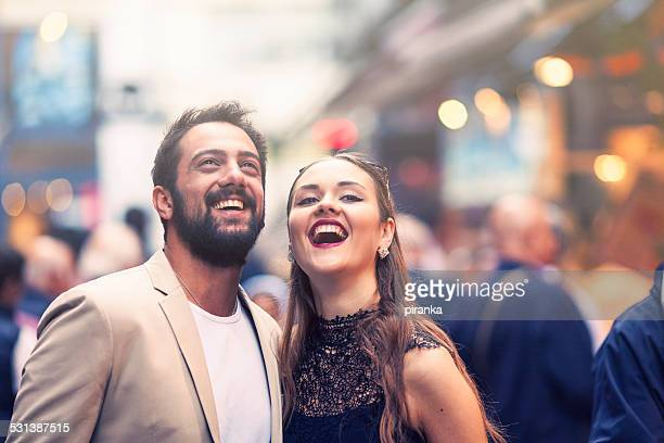 Couple on a busy city street