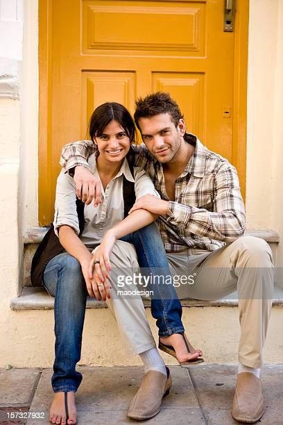 Couple on a doorstep
