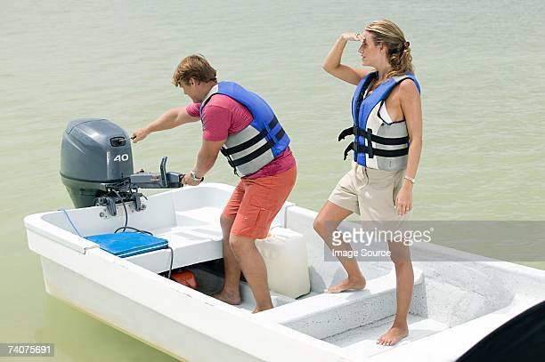 Couple on a motorboat