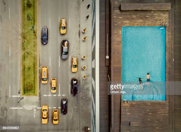 Couple on a New York City rooftop. Image composition.