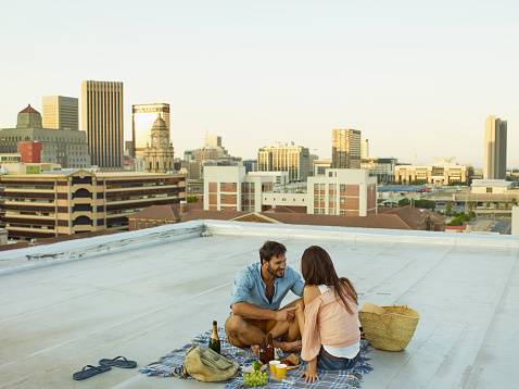 Couple on a rooftop - gettyimageskorea