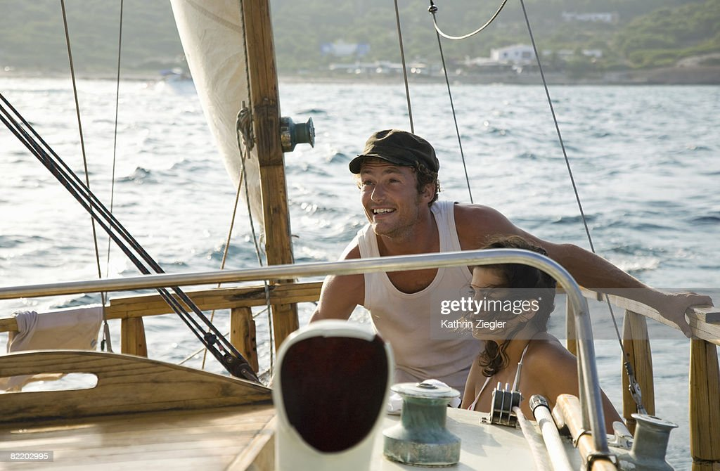 couple on a sailing boat : Stock Photo