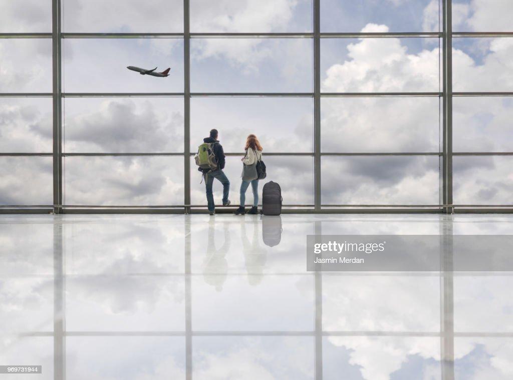 Couple on airport : Stock Photo