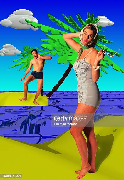 Couple on 'beach', man shouting to woman (Digital Composite)