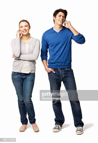 Couple on Cell Phones - Isolated