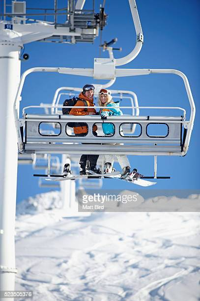 Couple on chairlift