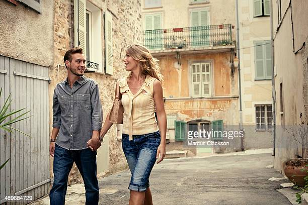 couple on holiday in valbonne.south of france - older woman younger man stock photos and pictures