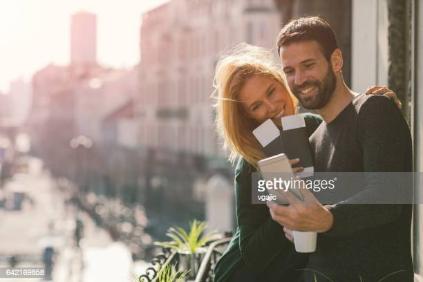 Couple on hotel balcony