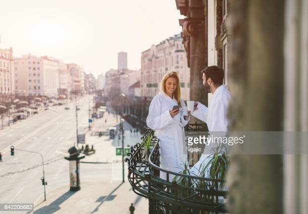 Couple on hotel balcony