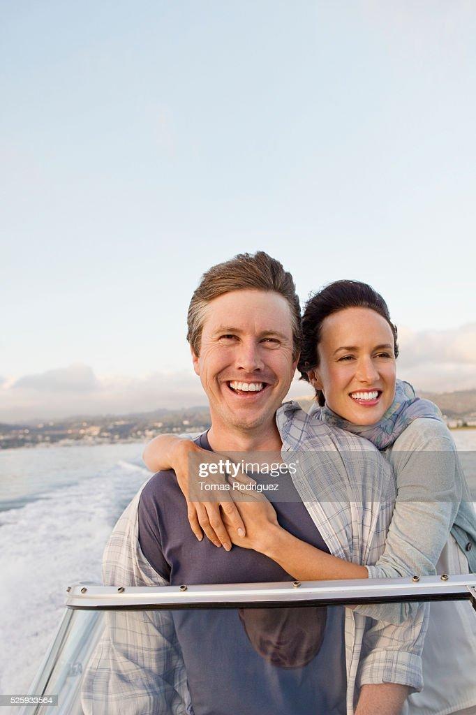 Couple on motorboat : Bildbanksbilder