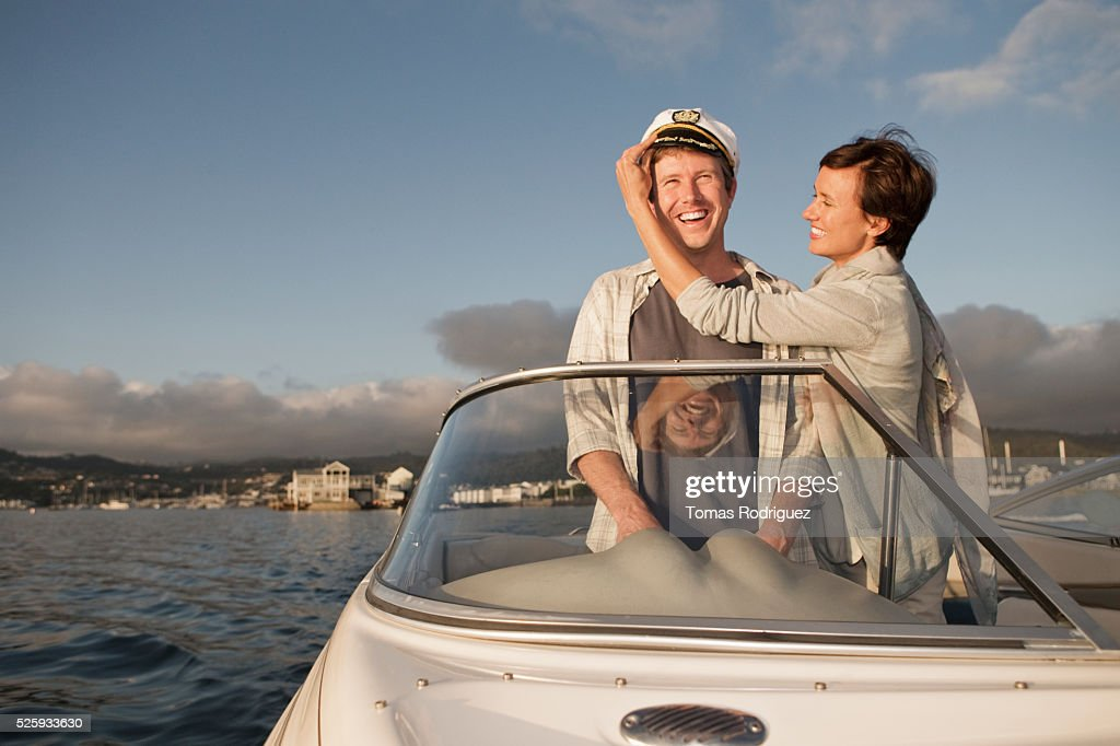 Couple on motorboat : Foto de stock