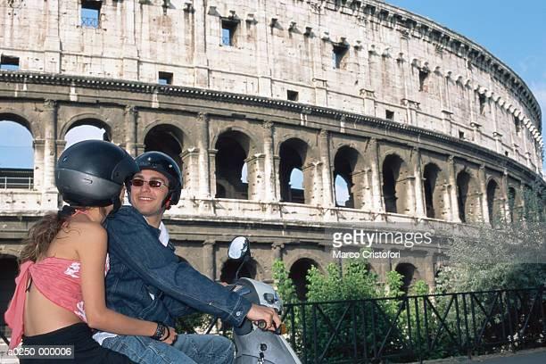 Couple on Motorscooter in RomeAncientItalian cultureRoman culture