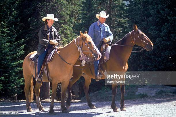 couple on quarterhorses on trail, fairmount chateau, lake louise, ab - chateau lake louise - fotografias e filmes do acervo