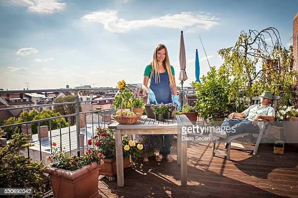 Couple On Roofgarden, Munich, Bavaria, Germany, Europe
