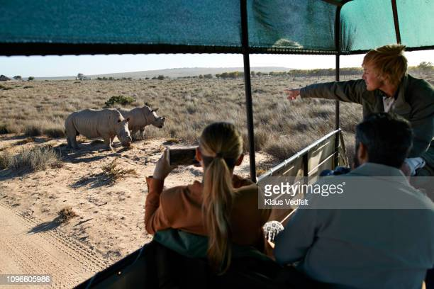 couple on safari trip with tour guide, taking pictures of rhinos out of 4x4 vehicle - reserva natural parque nacional fotografías e imágenes de stock