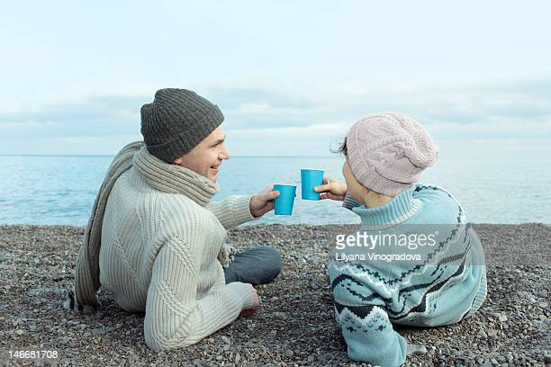 Couple on  sea picnic