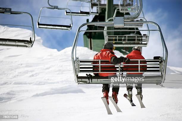 Couple on ski lift at Lake Tahoe