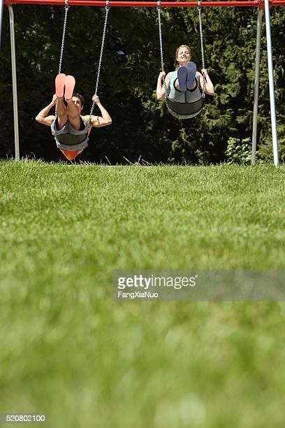 Couple on swings