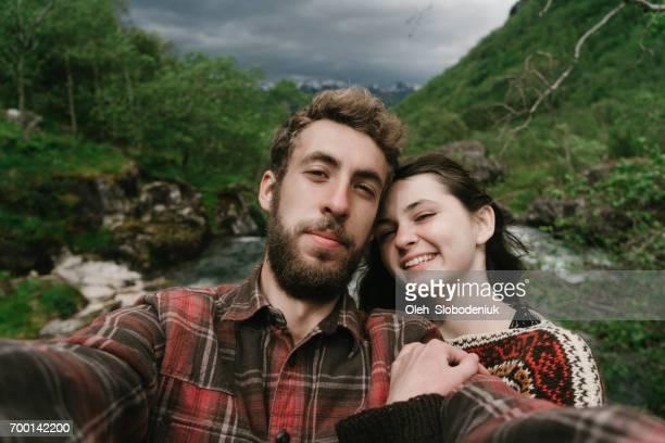 Couple on the bridge in Norway