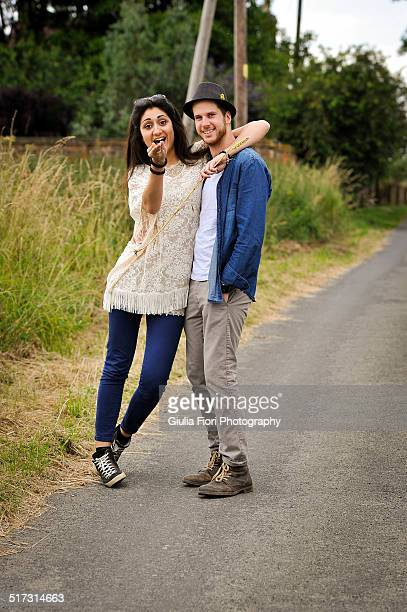 Couple on the side of the road