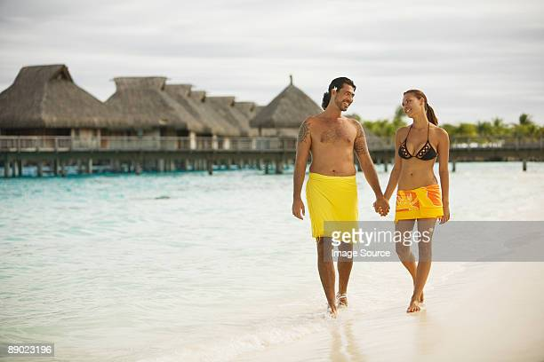Couple on vacation in bora bora