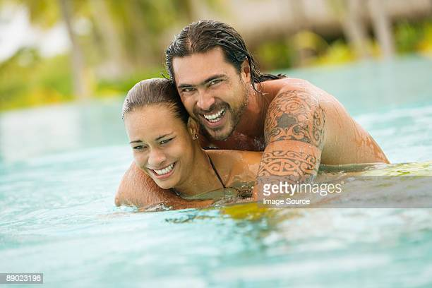 Couple on vacation in bora bora