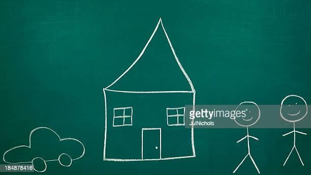 Paare oder Familien mit Haus Malkreide-Zeichnung