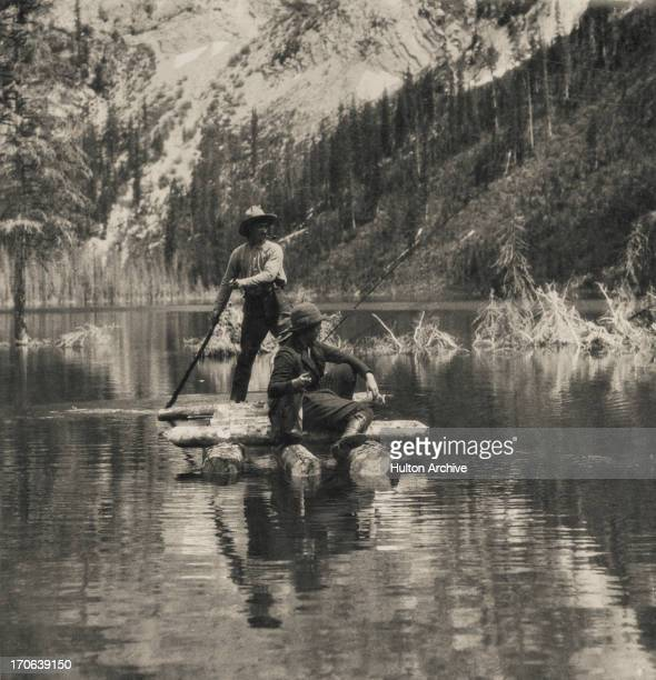 A couple out fishing on a raft at Warfield on the Kootenay River British Columbia Canada circa 1900