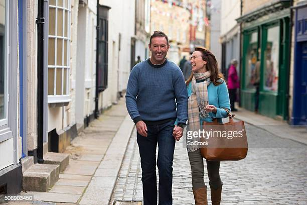 Couple Out Shopping in Town