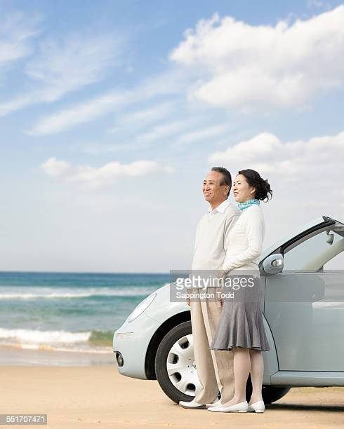 Couple Overlooking The Distant Standing Near The Car At Beach