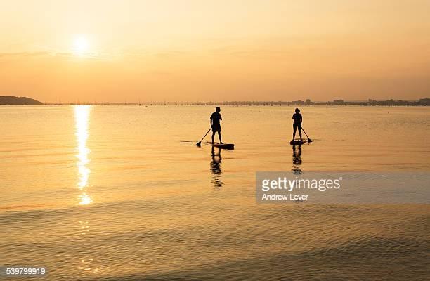 a couple paddleboarding - プール湾 ストックフォトと画像