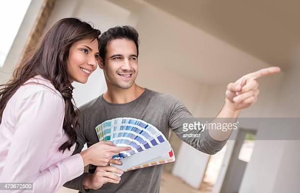 Paar Gemälde der Haus und wählen Sie die Farben