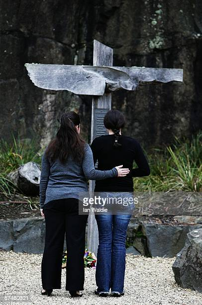 A couple pay their respects at the Port Arthur memorial site during a commemoration service to mark the 10th aniversary of the Port Arthur massacre...