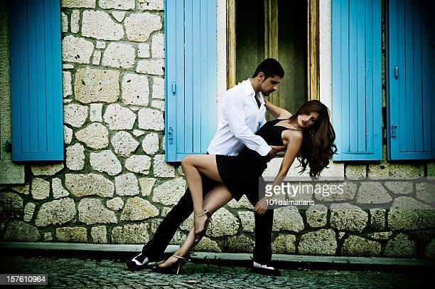 Couple performing passionate tango