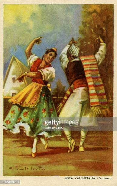 Couple performing the Jota dance Valencia The Jota is a traditional Spanish dance deriving from Aragon After a painting by Giralt Levin